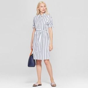 A New Day Striped Shirt Dress White And Navy Small